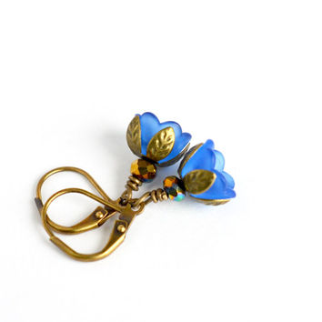 Royal blue earrings, vintage inspired dangle earrings, tulip drop earrings, blue petal flower earrings, nature earrings, pixie jewelry