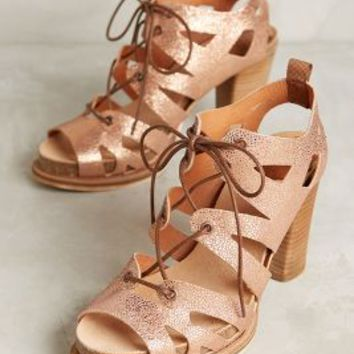 Coqueterra Sanne Lace-Up Heels in Nude Ray Leather Size: