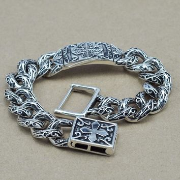 925 Sterling Silver Heavy Silver Flower Pattern Cross Carving Bracelet