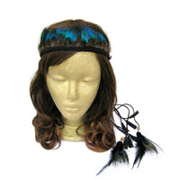 Feather Headband, Indian Feather Headband, Native American, Braided Headband, Feather Headdress, Peacock Headband, Feather Crown