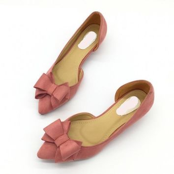 Sexy Pointed Toe D'Orsay Low Heels Pumps