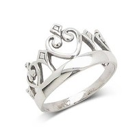 Miss America Princess Crown Sterling Silver Ring(Sizes 4,5,6,7,8,9,10)