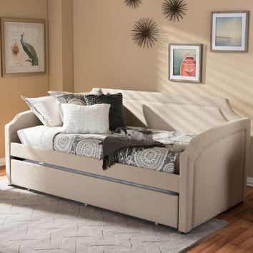 Baxton Studio Parkson Modern and Contemporary Beige Linen Fabric Curved Notched Corners Sofa Twin Daybed with Roll-Out Trundle Guest Bed Set of 1