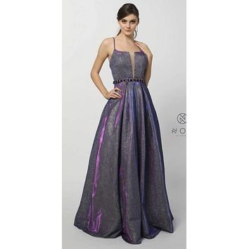Purple Metallic Prom Ball Gown Embellished Waist Open-Back