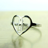 Personalized Heart Ring - Old English Initial Ring - Sterling Silver Ring - Women's Ring