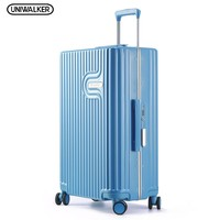 UNIWALKER Blue Lightweight Travel Suitcase 100% PC Carry on Spinner Wheel Luggage 20''24''26'' Inch for Woman Man TSA Lock