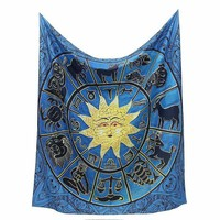 ONETOW Sun Indian Mandala Tapestry 150x130cm Wall Hanging Bohemian Bedspread Home Room Decorative Textiles Throw Blanket Dorm Cover