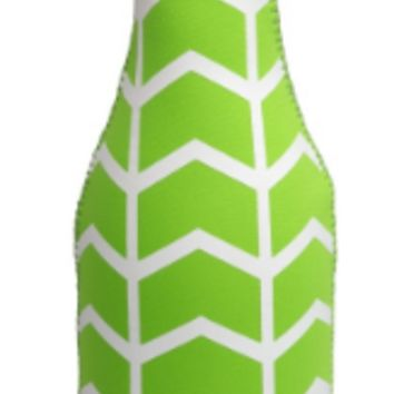 Lime Green and White Wine Bottle Koozie