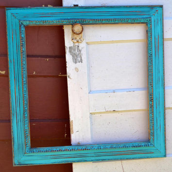 Large Aqua Ornate Painted Wood Picture Frame with Gold Accented Antique- Shabby Wall Decor -Rustic and Charming Decor.