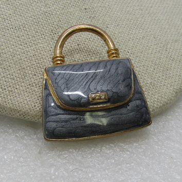 "Vintage Gray Enameled Purse Brooch, 1980's, Gold Tone, 1-3.8"" wide"