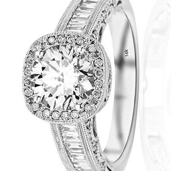 .1.7 Ctw 14K White Gold GIA Certified Round Cut Designer Baguette and Round Cushion Shape Halo Diamond Engagement Ring, 1 Ct G-H VS1-VS2 Center