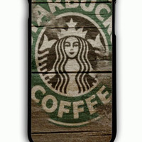 iPhone 6S Plus Case - Hard (PC) Cover with Starbucks Coffee on Wood Plastic Case Design