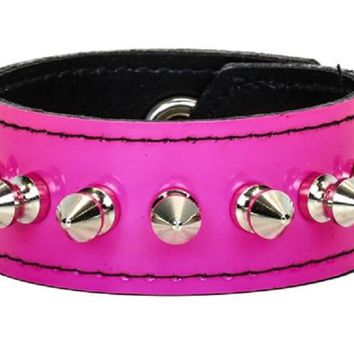 "1/2"" Spikes Pink PVC Patent Leather Wristband Bracelet Cuff 1-1/2"" Wide"