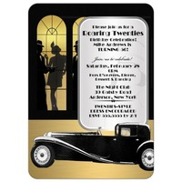 Great Gatsby Style Adult Birthday Party Invitations 20's Gangster Theme