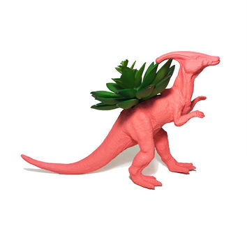 Up-cycled Coral Duckbill Dinosaur Planter