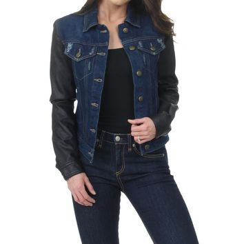 Laundry by Shelli Segal Women's Faux Leather Sleeves Distressed Denim Jacket