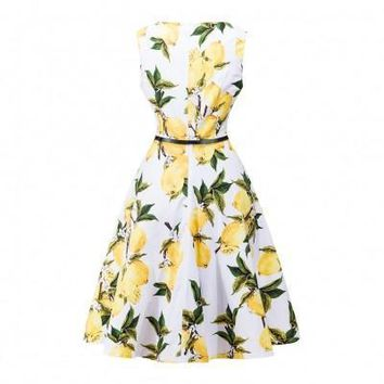 Vibrant Hepburn Style Sleeveless Yellow Lemon Dress