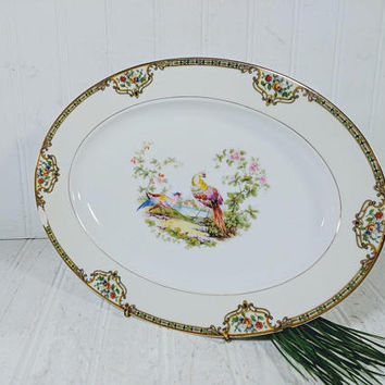 Serving Platter Noritake Morimura Chelsea Pattern Hand Painted Art Deco China Smaller Size Oval Plate with Colorful Porcelain Peacock Design