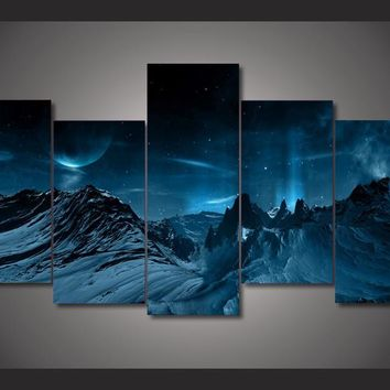 HD Printed Blue Night And Mountainscape Painting Canvas Print room decor print poster picture canvas Free shipping/ny-2941