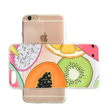 Cute Tropical Fruit Pattern Transparent Clear Rubber Jelly Plastic Phone Case for Iphone_ SUPERTRAMPshop (VAS1466, iphone 7/8 PLUS)