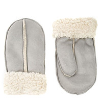 Gray Faux Shearling Mittens
