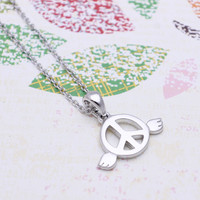 Peace with angel wings  necklace