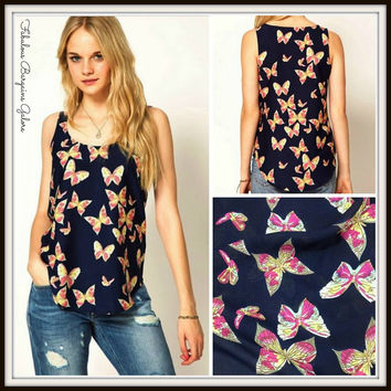 Ladies Butterfly Print Chiffon Top