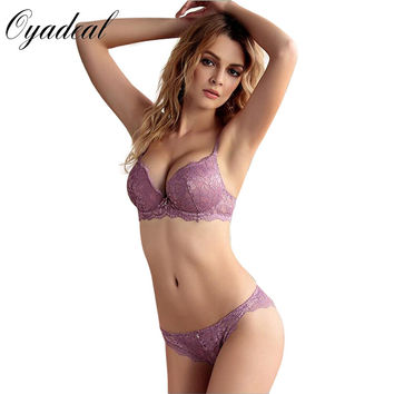 Oyadeal Brand ABC Cups Sexy Lace women Push Up Bra Sets High Quality Bra And Panty Lace Embroidery lingerie Underwear Bra Set