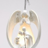 Angel with Holy Family Light Cover Christmas Tree Ornaments, Set of 4 - Seasonal & Holiday Decorations