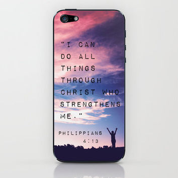 Philippians 4:13 in Nature iPhone & iPod Skin by Caleb Troy