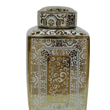 Attractive Decorative Ceramic Covered Jar In White And Gold By Sagebrook Home