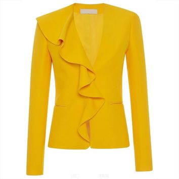 Trendy Women Office Jacket 2018 Autumn Yellow V Neck Casual Classic Work Wear Ruffle Pocket Hidden Button Coats Lady Elegant Jacket AT_94_13