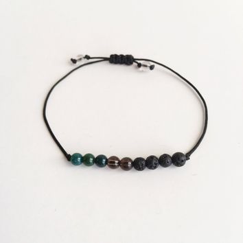 *Releasing Anxiety ~ Choose a String Color ~ Bloodstone, Smokey Quartz & Lava Beads Infuser Bracelet