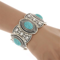 Hot Sale Classical Women's Retro Vintage Natural Turquoise Cute Tibet Silver Bracelet & Bangel Ladies Jewelry Accessories