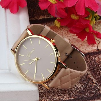Large Gold Trimmed Quilted Leather Fashion Watch