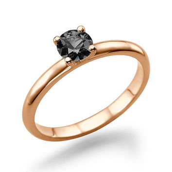 Rose Gold Engagement Ring, Black Diamond Ring, Solitaire Engagement Ring, 0.50 CT Black Diamond Ring, Diamond Ring Vintage