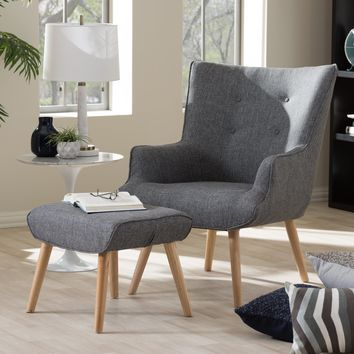 Baxton Studio Nola Mid-Century Inspired Grey Fabric Upholstered Occasional Armchair and Ottoman Set Set of 1