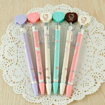 L43 4X Sweet Hello Kitty Heart Cookie Dessert Press Mechanical Automatic Pencil School Office Supply Student Stationery 0.7mm