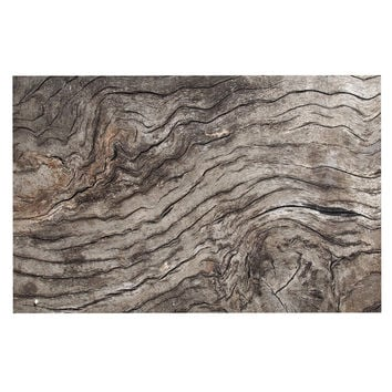 "Susan Sanders ""Tree Bark"" Brown Wooden Decorative Door Mat"