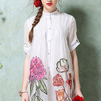 Floral Printed Organza Short Sleeve Dress