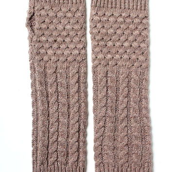 Cable Knit Long Gloves - Mocha