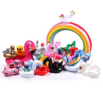 40 types Mini Floating Flamingo Cup Holder Pool Swimming Ring Water Toys Party Decoration Inflatable Pool Float Drink Holder