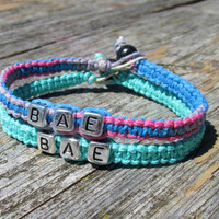 Bracelets for Couples, BAE, Before Anyone Else, Handmade Hemp Jewelry in Teal and Tutti Frutti