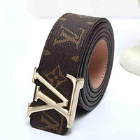 LV Louis Vuitton Woman Men Fashion Smooth Buckle Leather Belt