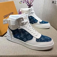 LV Louis Vuitton autumn and winter new high top printing stitching sports men's shoes #2