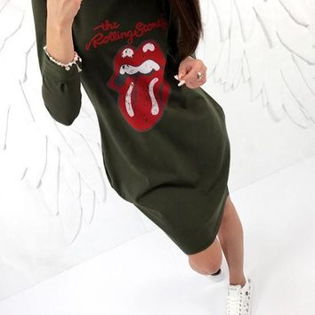 Streetstyle  Casual Army Green Floral Print Pockets Round Neck Casual Mini Dress