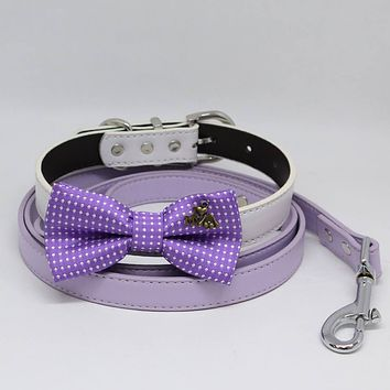 Purple Polka Dots Bow tie, Dog collar Lilac Leash, Charm( I Love my Dog), Handmade Gift, Pets wedding