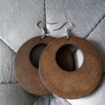 Vintage Solid Coffee Round Classic Wooden Earring