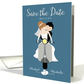 Custom Save the Date with Couple on Scooter card