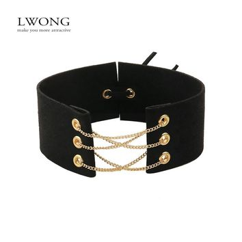 New Glamorous Black Velvet Choker With Gold Color Chains Sexy Statement Necklace Link Chain Lace Up Chokers Necklaces Chocker